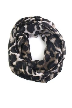 Anika Dali Sophie Leopard Animal Print Infinity Loop Scarf Shawl, Black/Brown at Amazon Women's Clothing store: