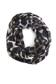 Anika Dali Sophie Leopard Animal Print Infinity Loop Scarf Shawl, Black/Brown at Amazon Women's Clothing store: