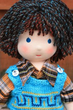 """RESERVED for Colleen(adelchis).Please don't purchase if you are not Colleen,thank you.Waldorf doll,16"""" tall blue-eyed boy Jonas,soft toy. $140.00, via Etsy."""