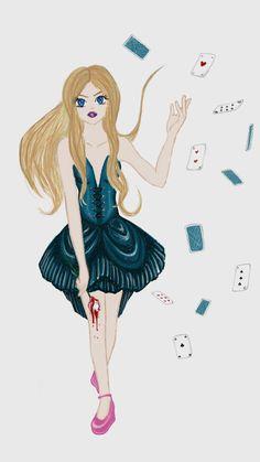 Dessin inspiré d'Alice au pays des merveilles, colorisé avec l'application Fresh Paint.