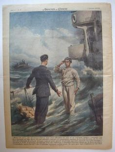 """domenica corriere anno 42 n.49 Retro: """"Muoio con voi!"""" Un cacciatorpediniere, dopo aver affondato sei navi di un convoglio nemico e sostenuto una fiera battaglia nel Mar Rosso, sta per affondare insieme col comandante, capitano di corvetta Borsini, che ha ordinato all'equipaggio di salvarsi. L'acqua è già sul ponte quando un giovane marinaio, lasciata una delle scialuppe e ritornato a bordo, si presenta all'ufficiale. E' la sua ordinanza, il marinaio Vincenzo Ciaravola, di Torre del Greco…"""