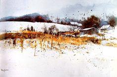 Bandada de cuervos, Acuarela de Philip Jamison.