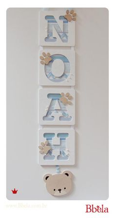 BASE_2IMAGENS_POST304B Baby Crafts, Diy And Crafts, Paper Crafts, Baby Frame, Wooden Letters, Baby Room Decor, Kids Decor, Kids Furniture, Kids Room
