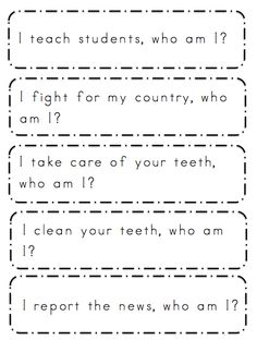 Free Community Helpers Sentences ~ Preschool Printables