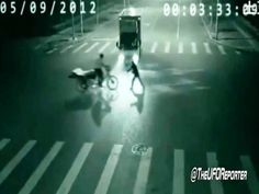 A weird and unexplained event occurred in China on September 5, 2012    A teleportation captured by Surveillance Camera.    A person on a motorbike is saved by an unknown figure by teleporting him a few meters away in less than a second.