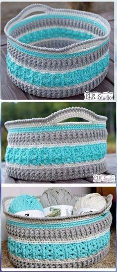 DIY Crochet Storage Basket The Sea Glass Basket Free Pattern