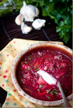 Borsh, traditional Slavic beet soup. Hearty, warming and delicious.   Let the Baking Begin Blog. com
