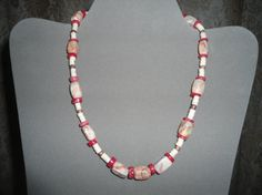 SALE Red Necklace Hippie Choker Coral Shell and by LandofBridget