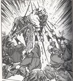This panel comes from Satsuma Gishiden vol. 3 the manga written and illustrated by Hiroshi Hirata, which was most recently published in America by Dark Horse Manga in March of Oni Samurai, Samurai Tattoo, Samurai Warrior, Game Character, Character Design, Fighting Poses, Illustration Story, Japanese Warrior, Japanese Folklore