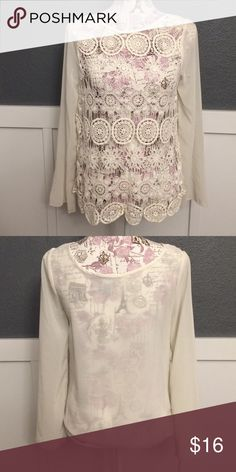 Size S Crochet Top Crochet front. Sheer back and sleeves. Size S Myan Tops Blouses