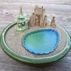 Miniature Zen Garden Landscape with Mountain, Lake, Ceramic Pagoda, Office Gift, Meditation, Play | #zengarden #meditation