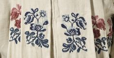 Detail fabric, bed gown and petticoat, France or England, fabric: 1750-1775; reconstructed: 1770s. Linen warp and cotton weft plain weave (fustian) with wool supplementary weft floral patterning and linen plain weave lining.