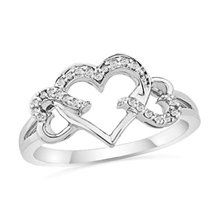 "Sterling Silver Round Diamond Triple Heart Ring cttw) (Jewelry) newly tagged ""engagement rings"" I would love for this to be my wedding ring Heart Jewelry, Jewelry Rings, Jewelry Accessories, Fine Jewelry, Women Jewelry, Gold Jewellery, Jewelry Sets, Jewlery, Silver Jewelry"