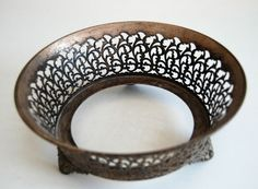 ANTIQUE SILVER PLATED BOWL HOLDER