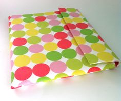 """Laptop case, 13"""" MacBook Sleeve, MacBook Air cover  in pink, green and yellow dots. $35.00, via Etsy."""