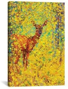 iCanvas White Tailed Deer 18-Inch x 12-Inch Canvas Wall Art