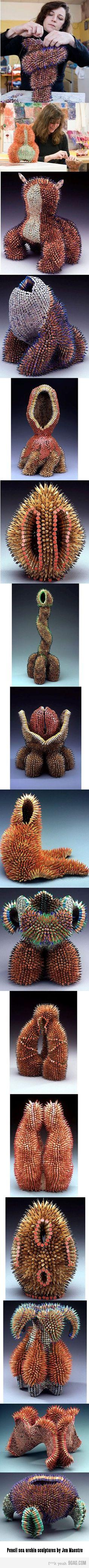 pencil sea urchin sculptures.