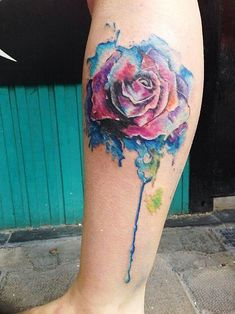Flowed Rose tattoo