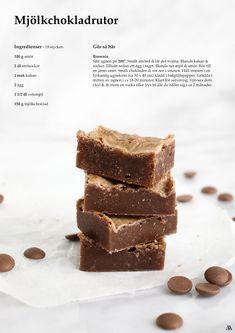 Mjölkchokladrutor | Amelie.Almen Baking Recipes, Cake Recipes, Snack Recipes, Dessert Recipes, Snacks, Best Brownies, Smores Brownies, Yummy Treats, Yummy Food