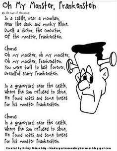 halloween frankenstein poem/song printable. good for book innovations.