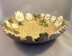 Pottery fruit bowl daisy design ceramic bowl by Sallyamoss on Etsy