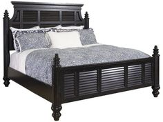 A shutter pattern lines the frames of this deep and royal panel bedset.