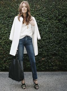 Layered in White #LayeredOnStyle super cute and simple... Can a mom really wear a white coat?