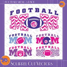 Football Mom Monogram Frames and Art   SVG by SquirrelCutVectors