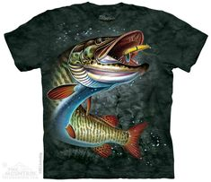 0c2ac984479ca MUSKIE FISH T Shirt The Mountain Musky Muskellunge Esox Fishing Tee S- 4XL  5XL