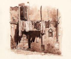 Laundry Day, via Borgolungo, Viterbo, Italy, by Fred Lynch FredLynch.com