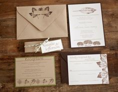 Leaf Botanical Natural Rustic Wedding Invitation by Forget Me Knot Paperie {SAMPLE}