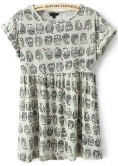 Beige Short Sleeve Owl Print Pleated Dress - Sheinside.com