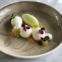 Apple mousse • Lemoncurd • Vanilla crumble • Meringue • Apple-cream • Granny smith sorbet   By @bajenfreddan at @villakallhagen Villa Källhagen, Stockholm, Sweden (Scandinavian/swedish cuisine)