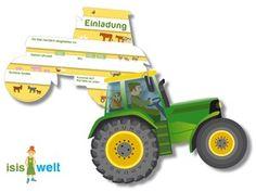 Kindergeburtstag 6 Einladungen Traktor Einladungskarten Trecker Bauernhof | eBay