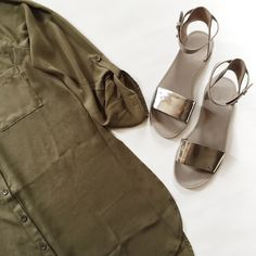 Vince Sawyer Metallic Sandals Vince Sawyer Metallic Sandals in gray and silver leather.  Adjustable ankle strap and rubber soles. Pre-loved but in great condition.  Only signs of wear on soles.  BUNDLE entire outfit to SAVE and GET THE LOOK! Vince Shoes
