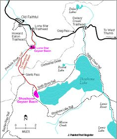 Trail Map for trails to Shoshone Geyser Basin and Lone Star Geyser Basin