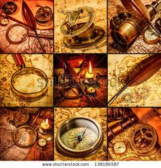 Vintage compass, magnifying glass, pocket watch, quill pen, spyglass lie on an old ancient map with a lit candle. Vintage still life. - stock photo