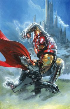 Thor: God of Thunder Vol. 17 - Thorbuster Suit vs Thor by Gabriele Dell'Otto Comic Movies, Comic Book Characters, Comic Book Heroes, Marvel Characters, Comic Books Art, Comic Art, Arte Dc Comics, Marvel Comics Art, Marvel Heroes