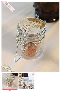 These Mini Glass Bottles offer endless possibilites for DIY enthusiasts. Fill with candies, nuts, cocoa, honey or even home-made preserves. Finish with a personalized sticker or tag to create a great favor your guests will love to receive.