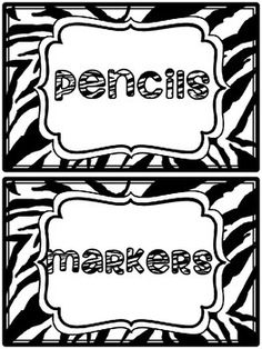Here are some zebra print supply labels I made up for my classroom. Feel free to use them in your own classroom!
