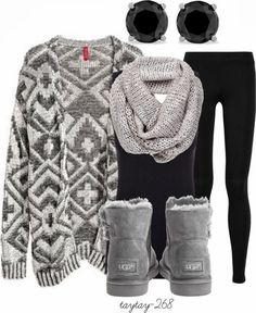 Get Inspired by Fashion: Winter Outfits | Black and Grey- no earrings for me :)