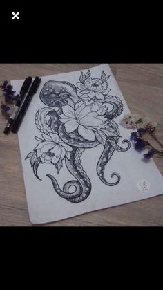 Octopus Tattoos With Flowers Geometric Tattoos – octopus tattoo Octopus Thigh Tattoos, Ocean Sleeve Tattoos, Nautical Tattoo Sleeve, Octopus Tattoo Sleeve, Octopus Tattoo Design, Ocean Tattoos, Sleeve Tattoos For Women, Leg Tattoos, Flower Tattoos