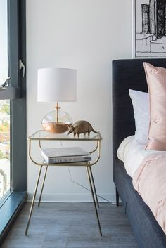 14 Contemporary Bedroom Ideas That Will Induce Sweet Dreams A glass and gold nightstand Bedroom Lamps, Bedroom Furniture, Bedroom Decor, Bedroom Ideas, Glam Bedroom, Bedroom Images, Bedroom Photos, Bedroom Lighting, Contemporary Bedroom