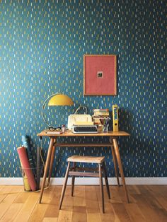 50s wallpaper, love the colour scheme - I recognise the lamp from BBC series The Hour.