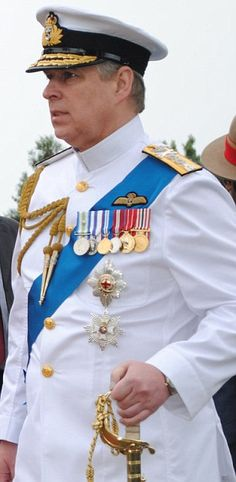 Prince Andrew in ceremonial Navy dress.