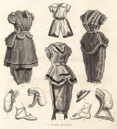 Bathing costumes, looks like Victorian Women, Victorian Era, Victorian Fashion, Vintage Fashion, French Fashion, Vintage Bathing Suits, Vintage Swim, Vintage Lingerie, Vintage Hats