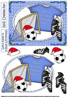 Chelsea blue football Christmas on Craftsuprint - Add To Basket!
