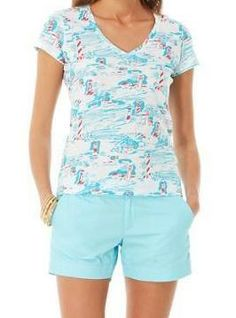Lilly Pulitzer Michele Printed V-Neck Top in Resort White Watch Out