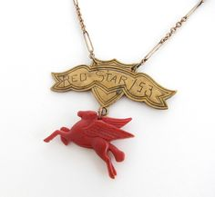 Red Star — winged horse and banner assemblage necklace by MillenniumAssembly on Etsy https://www.etsy.com/listing/106415177/red-star-winged-horse-and-banner