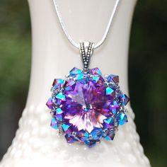 Jazzy Violet Necklace Handmade With Swarovski Crystal By Lisa S. Dunaj